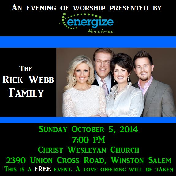 "The Rick Webb Family ""In Concert"" Tomorrow night Sunday Oct 5th"