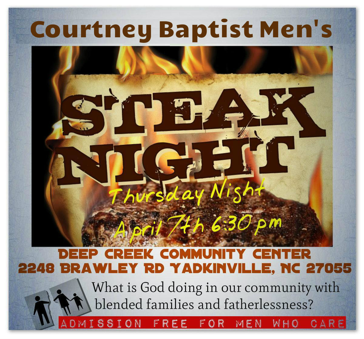 'FREE' Steak Night in Yadkinville April 7th- Join Me!