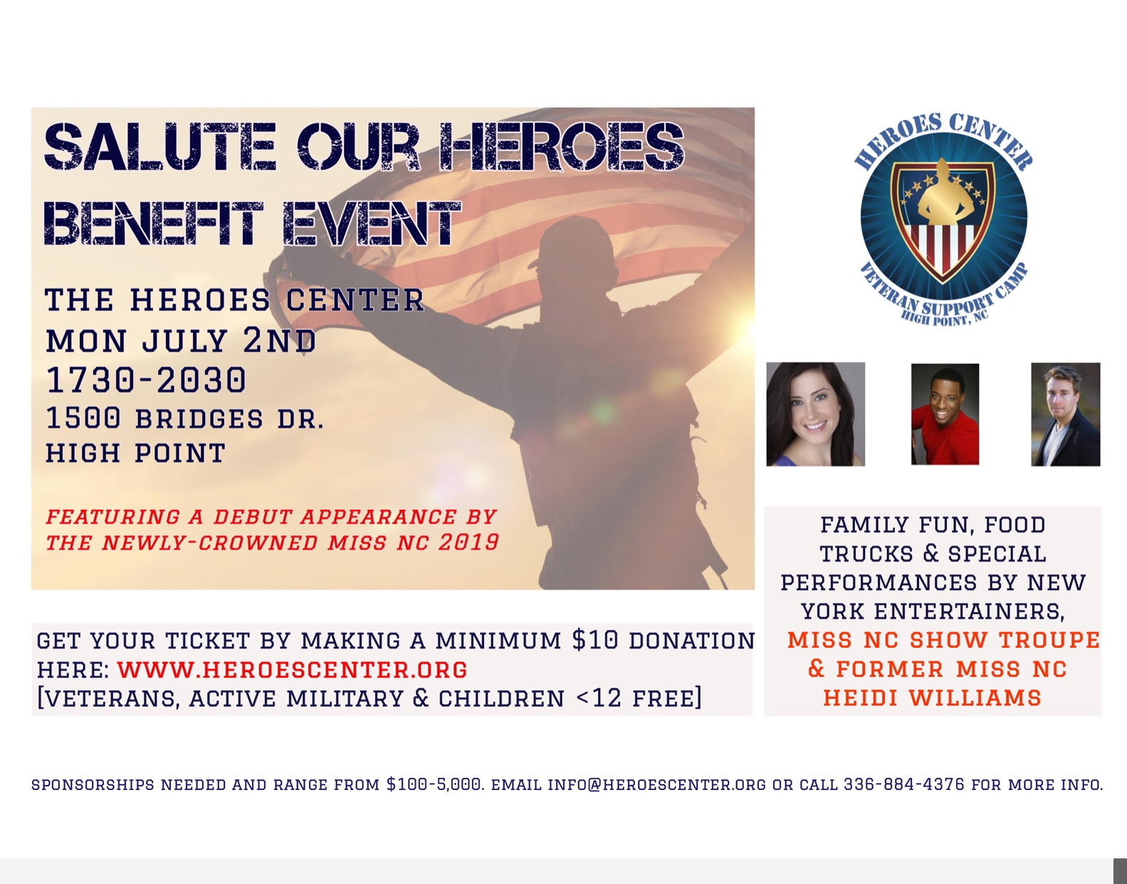 Salute Our Heroes Benefit Event July 2nd in High Point