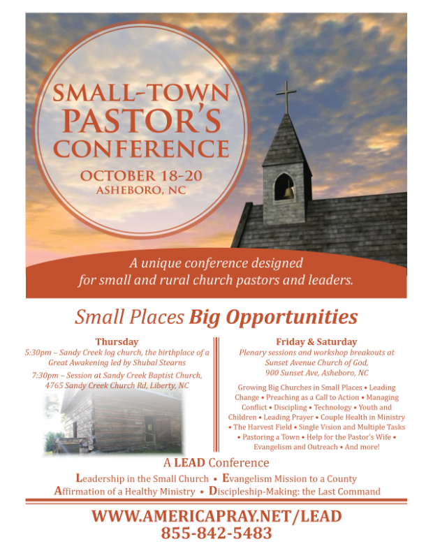 Small-Town Pastor's Conference October 18-20 Asheboro