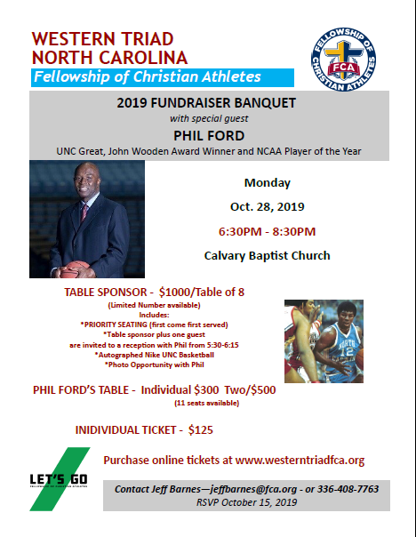 FCA Banquet October 28 – Calvary Baptist